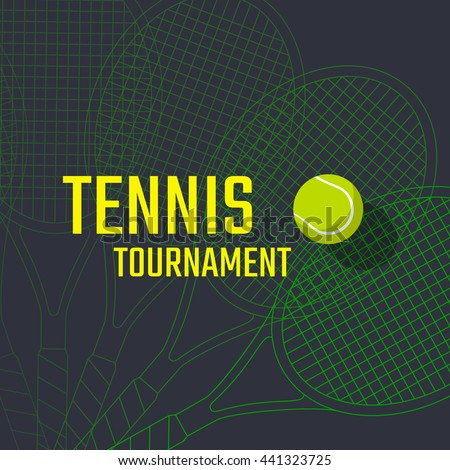 Tennis Championship Tournament Poster Design Vector Stock