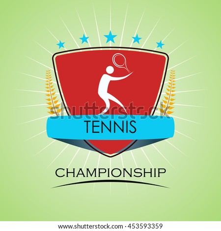 Tennis - Winner Golden Laurel Seal  - Layered EPS 10 Vector - stock vector