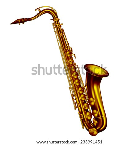 Tenor saxophone isolated on white background. Vector illustration - stock vector