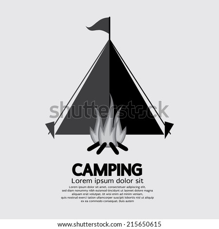 Tent And Campfire For Camping Vector Illustration - stock vector