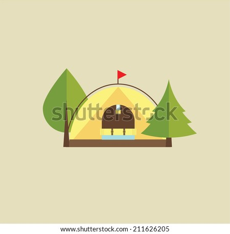 Tent camping - stock vector