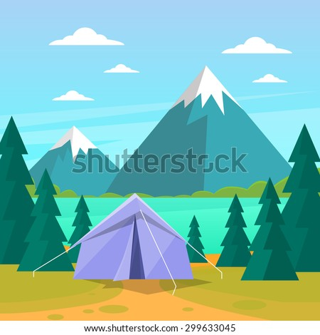 Tent Camping Tourist Forest Mountain Expedition Flat Vector Illustration - stock vector