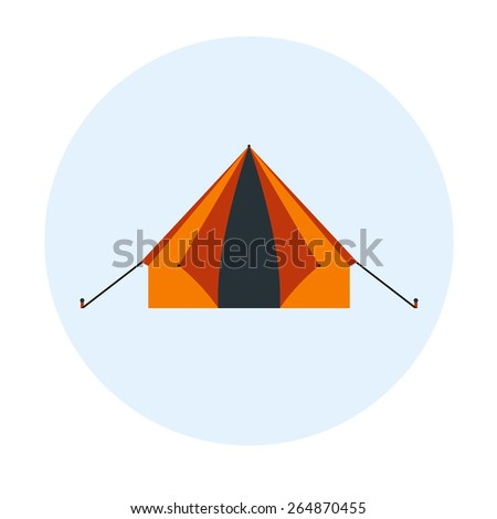 Tent for outdoor leisure in vacation. Flat design illustration for summer travel tourism. Vector shelter, roof, house. Camping equipment in orange color. - stock vector