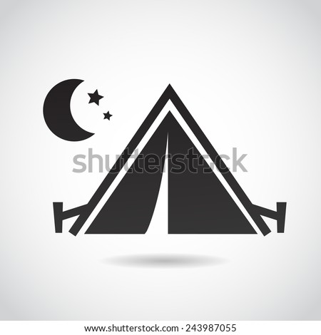 Tent icon isolated on white background. Vector illustration. - stock vector