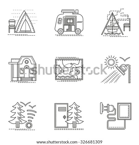 Tent, navigation, campsite in forest and other samples for camping. Set of thin flat line style tourism vector icons. Design symbols for website and business. - stock vector