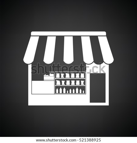 Tent shop icon. Black background with white. Vector illustration.