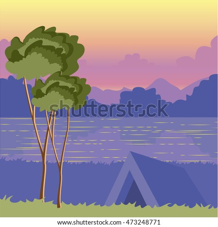 Tent under a tree on the nature at sunset by a lake. The picturesque landscape