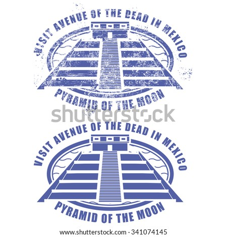 Teotihuacan - Pyramid of the Sun at Avenue of the Dead, Mexico - stock vector