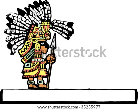 Teotihuacan Warrior rendered in temple mural style. - stock vector