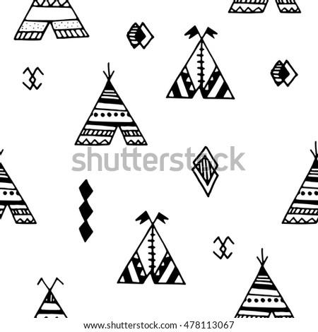 Tepee Seamless Pattern Wigwam Native American Stock Vector 478113067