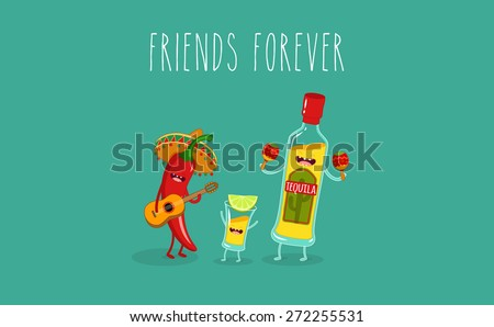 Tequila bottle, tequila shot and chili pepper. Vector cartoon. Friends forever. Comic characters. - stock vector