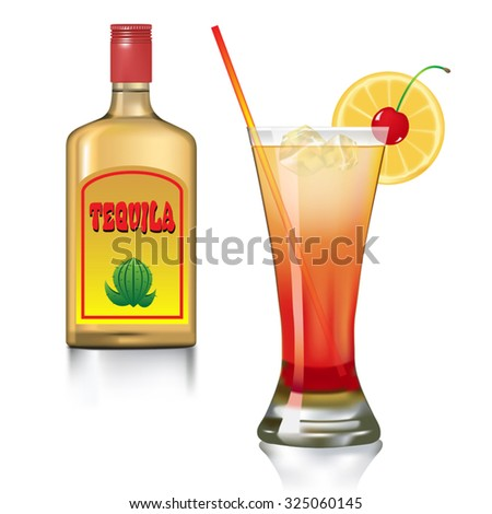 Tequila drink with orange, cherry and bottle isolated on white. Vector illustration - stock vector