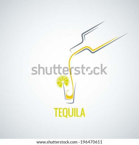 tequila shot bottle glass menu background - stock vector