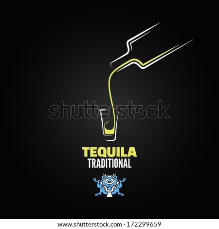 tequila shot bottle glass menu design background - stock vector