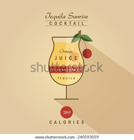 tequila sunrise cocktail drink recipe vector illustration in trendy retro hipster flat design style - stock vector