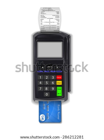 terminal with inserted credit card - stock vector