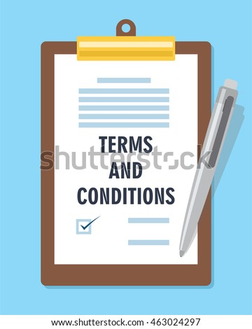 Terms Condition Agreement Contract Stock Vector