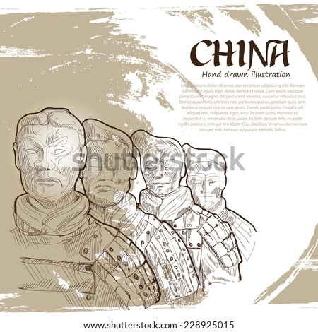 Terra-Cotta Warriors. Travel Concept. Vector Illustration - stock vector