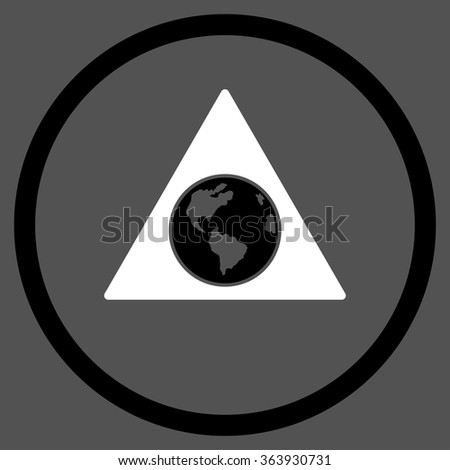 Terra Triangle vector icon. Style is bicolor flat circled symbol, black and white colors, rounded angles, gray background. - stock vector