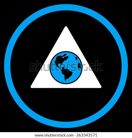 Terra Triangle vector icon. Style is bicolor flat circled symbol, blue and white colors, rounded angles, black background. - stock vector