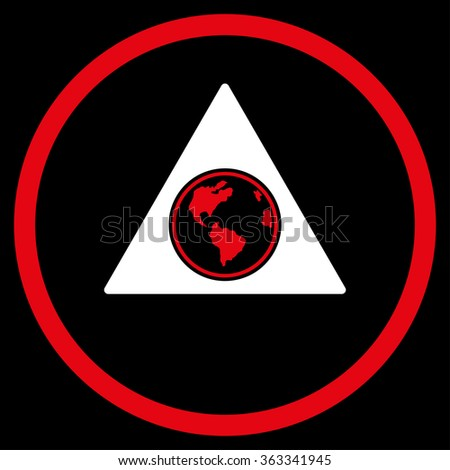 Terra Triangle vector icon. Style is bicolor flat circled symbol, red and white colors, rounded angles, black background. - stock vector