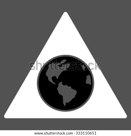 Terra Triangle vector icon. Style is bicolor flat symbol, black and white colors, rounded angles, gray background.