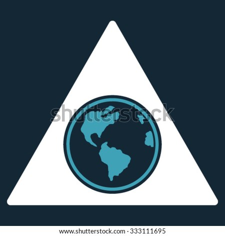 Terra Triangle vector icon. Style is bicolor flat symbol, blue and white colors, rounded angles, dark blue background.