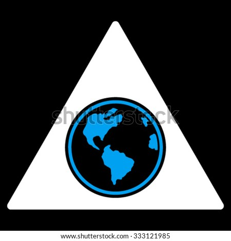 Terra Triangle vector icon. Style is bicolor flat symbol, blue and white colors, rounded angles, black background.