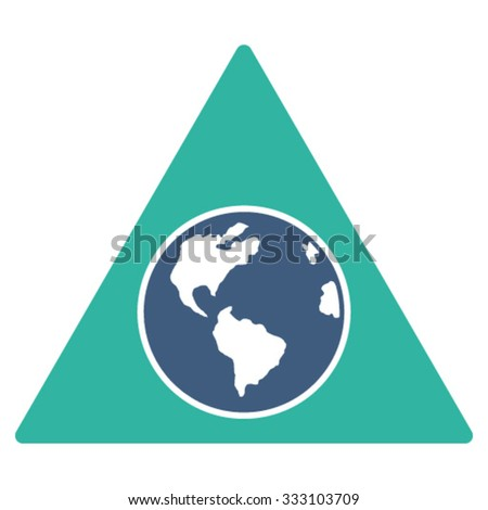 Terra Triangle vector icon. Style is bicolor flat symbol, cobalt and cyan colors, rounded angles, white background.