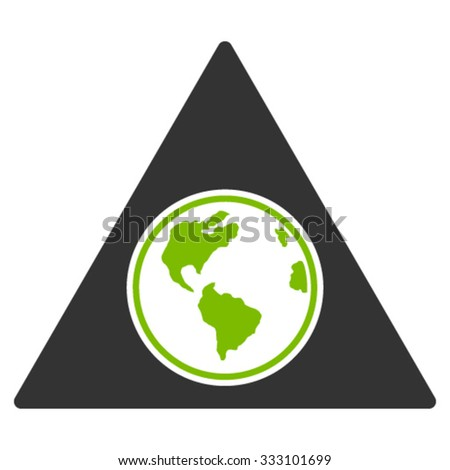 Terra Triangle vector icon. Style is bicolor flat symbol, eco green and gray colors, rounded angles, white background.