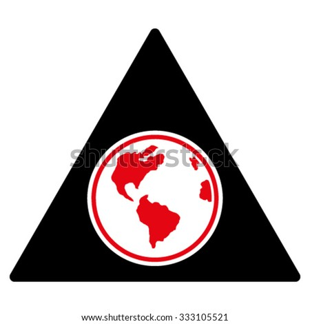 Terra Triangle vector icon. Style is bicolor flat symbol, intensive red and black colors, rounded angles, white background.