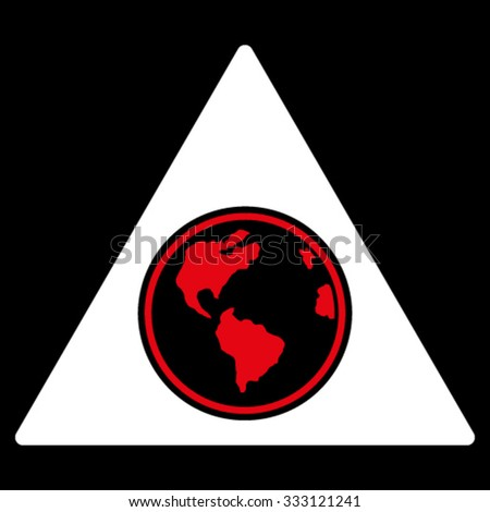 Terra Triangle vector icon. Style is bicolor flat symbol, red and white colors, rounded angles, black background. - stock vector