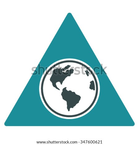 Terra Triangle vector icon. Style is bicolor flat symbol, soft blue colors, rounded angles, white background. - stock vector