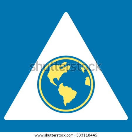 Terra Triangle vector icon. Style is bicolor flat symbol, yellow and white colors, rounded angles, blue background. - stock vector