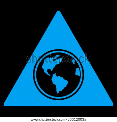 Terra Triangle vector icon. Style is flat symbol, blue color, rounded angles, black background.