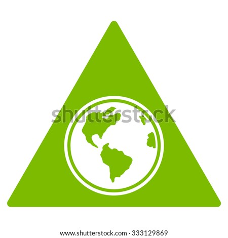 Terra Triangle vector icon. Style is flat symbol, eco green color, rounded angles, white background.