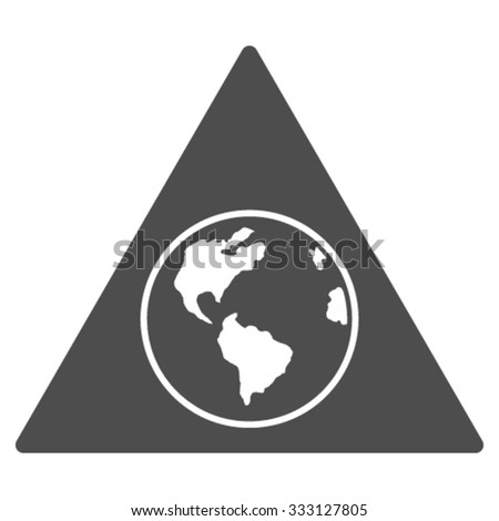 Terra Triangle vector icon. Style is flat symbol, gray color, rounded angles, white background.