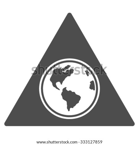 Terra Triangle vector icon. Style is flat symbol, gray color, rounded angles, white background. - stock vector