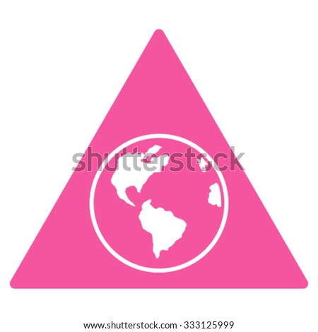 Terra Triangle vector icon. Style is flat symbol, pink color, rounded angles, white background.