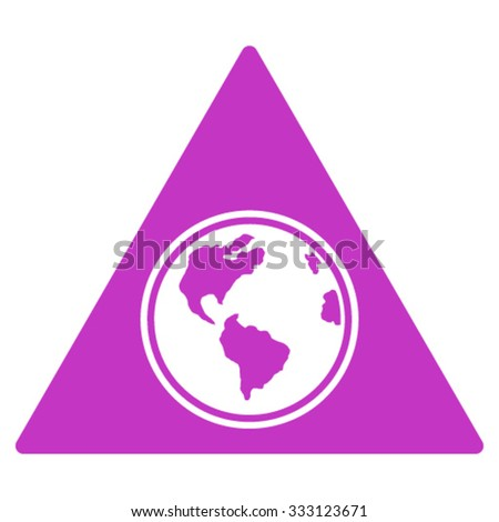Terra Triangle vector icon. Style is flat symbol, violet color, rounded angles, white background.