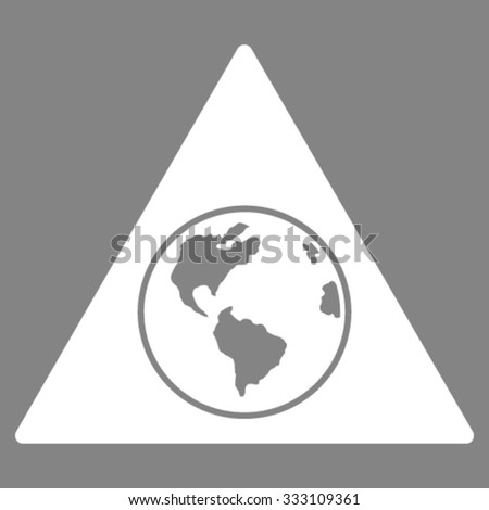 Terra Triangle vector icon. Style is flat symbol, white color, rounded angles, gray background.