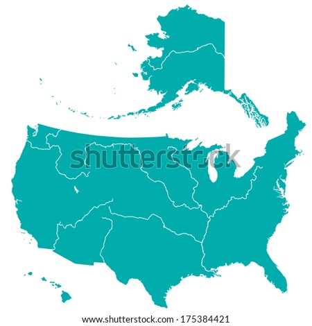 Terrestrial silhouette map of the United States with major rivers and lakes. All objects are independent and fully editable  - stock vector