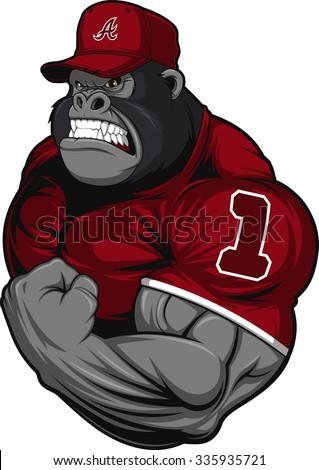 Terrible gorilla athlete - stock vector