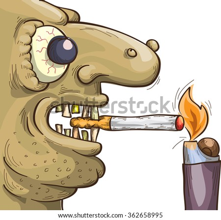 terrible smoker with cigarette and lighter, vector sketch isolated on white - stock vector
