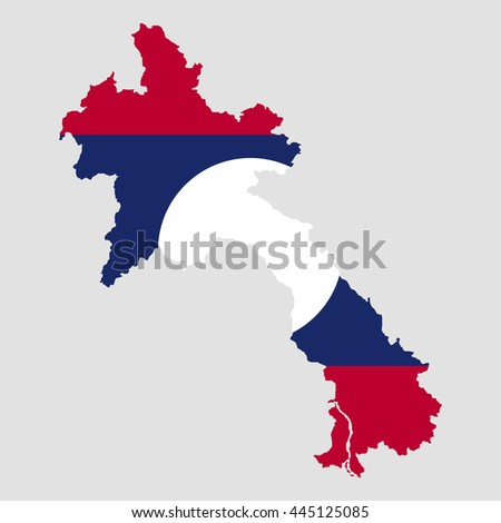Territory and flag of Laos - stock vector