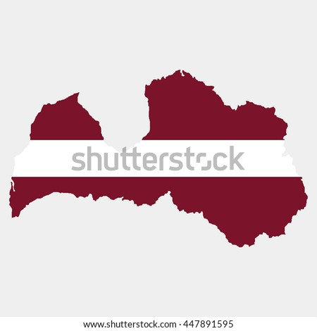 Territory and flag of Latvia - stock vector