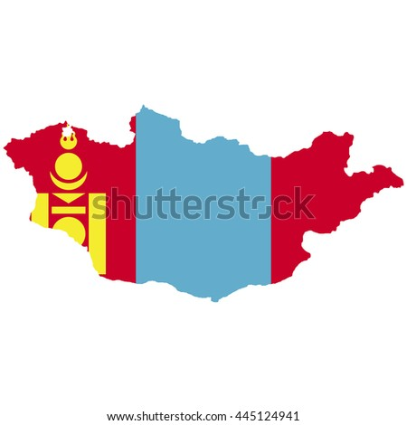 Territory and flag of Mongolia - stock vector