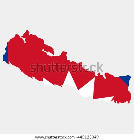 Territory and flag of Nepal - stock vector
