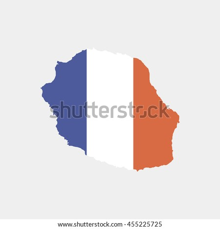 Territory and flag of Reunion - stock vector