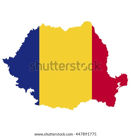 Territory and flag of Rumania - stock vector